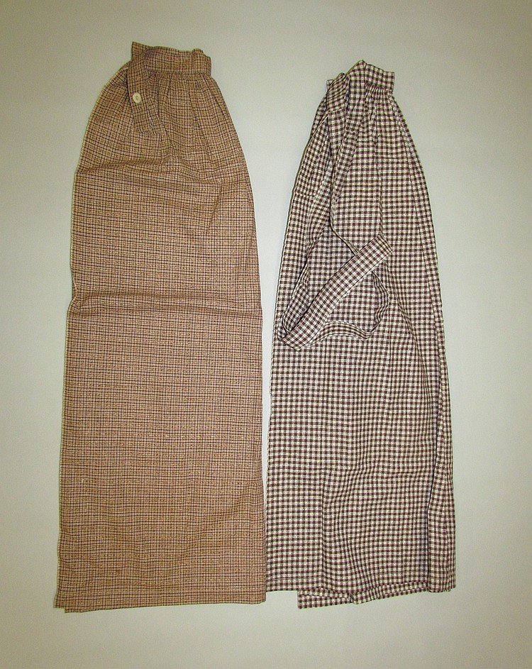2 brown check fabric aprons