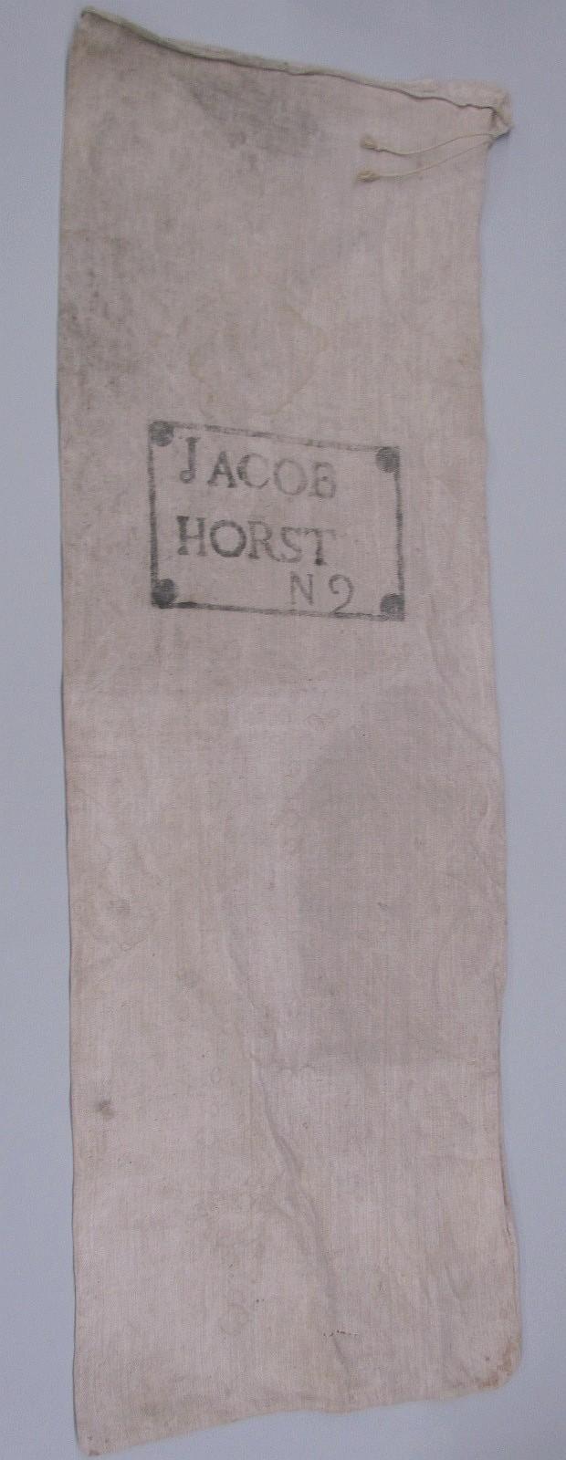 Early homespun linen feedbag of Jacob Horst