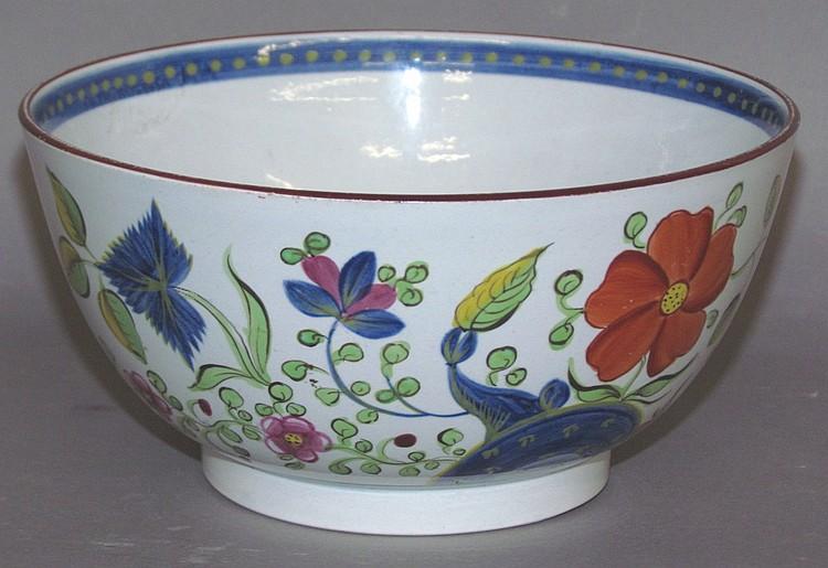 English pearlware Gaudy Dutch single rose waste bowl