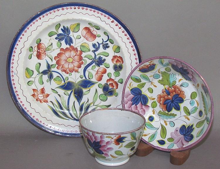 English pearlware Gaudy Dutch dahlia plate & varient carnation cup & saucer
