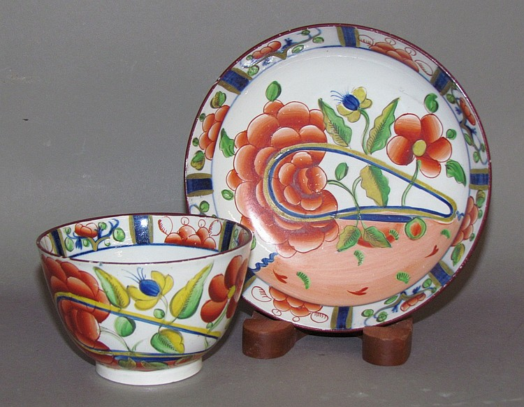 English pearlware Gaudy Dutch oyster cup & saucer