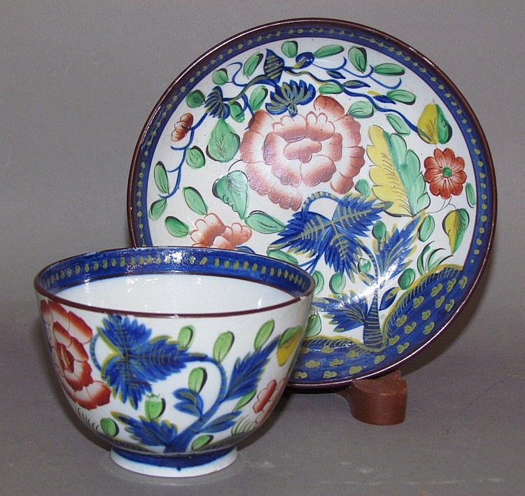 English pearlware Gaudy Dutch carnation cup & saucer