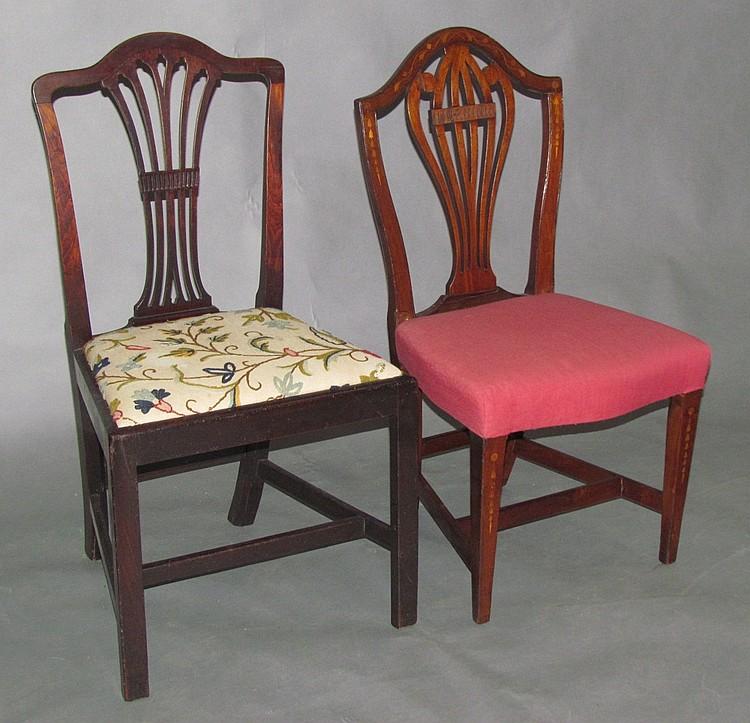 2 Hepplewhite shield back side chairs