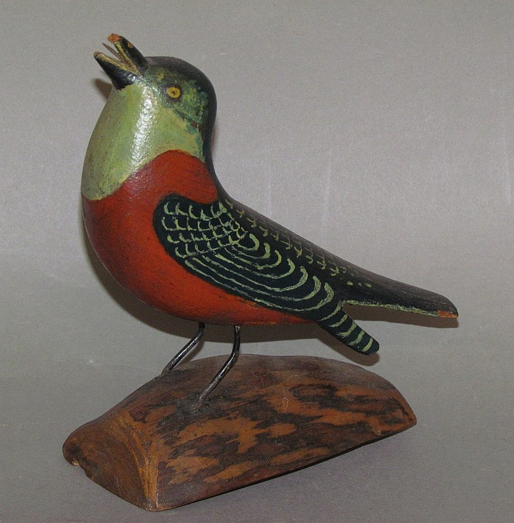 Joseph Moyer song bird carving