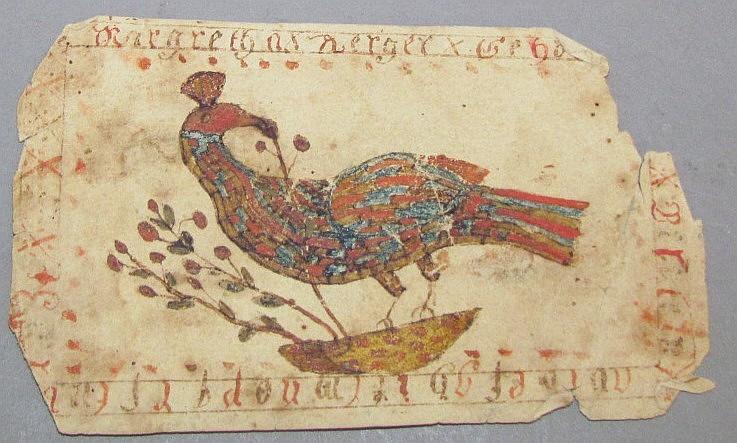 Fraktur watercolor bookmark of bird for Margaretha Kerger