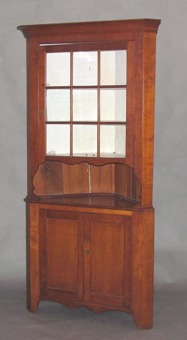 2 pc. cherry corner cupboard