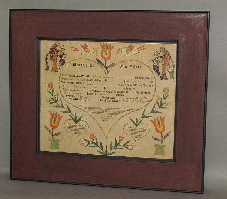 Framed printed German taufschein