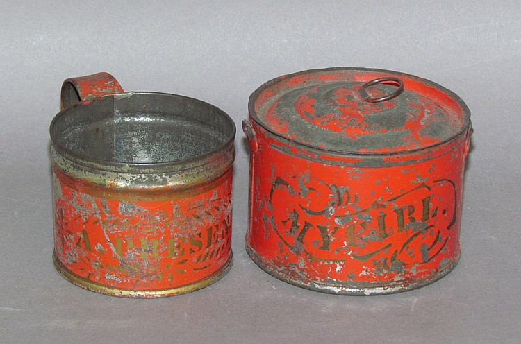 2 pieces of red toleware child's tinware