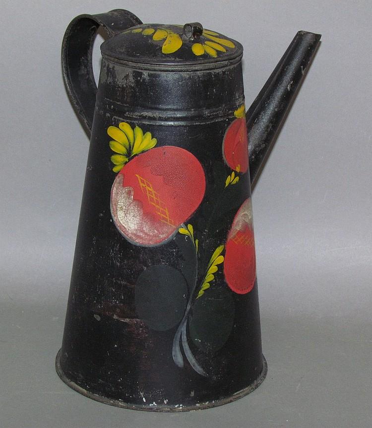 Black toleware dome coffee pot