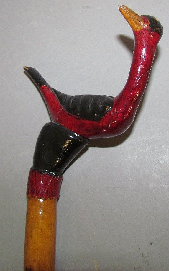 """Schtockschnitzler"" Simmons carved bird walking stick"