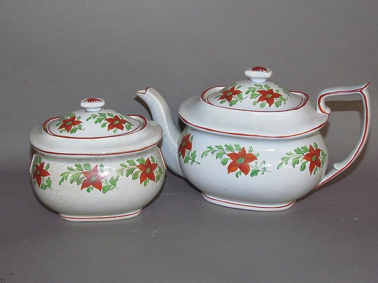 English pearlware covered teapot & sugar bowl