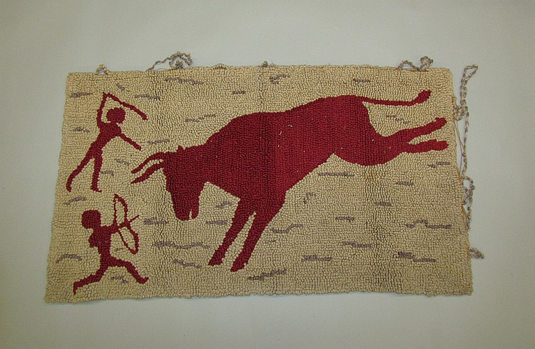 Uncommon hooked rug with Native American's hunting buffalo