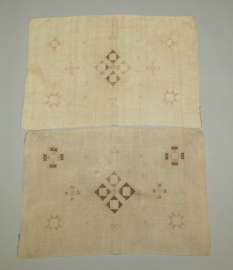 Pair of homespun & embroidered pillow cases