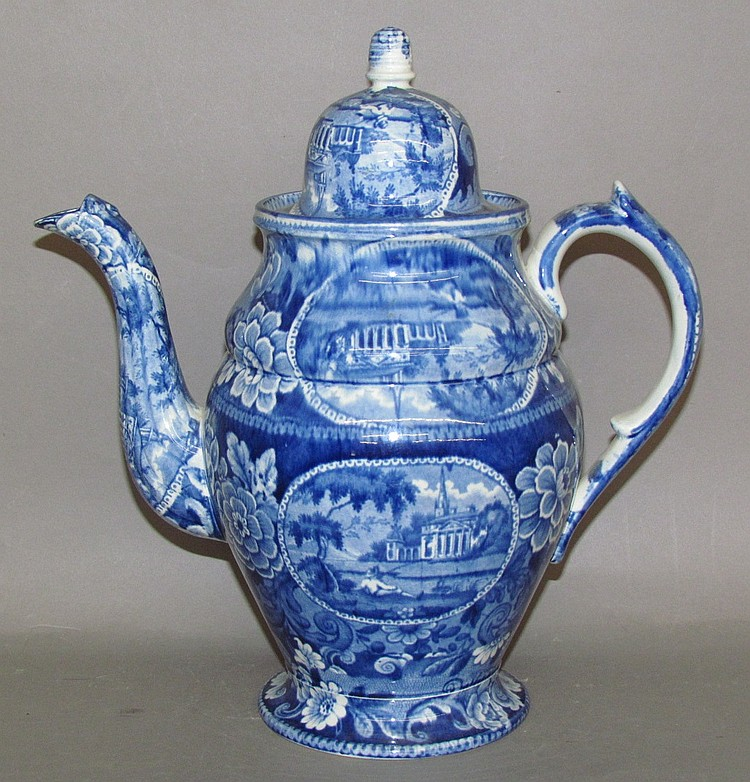Fine blue transfer English earthenware coffee pot