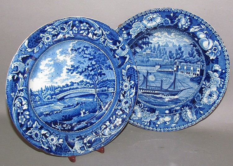2 Historic Blue dishes with Philadelphia views