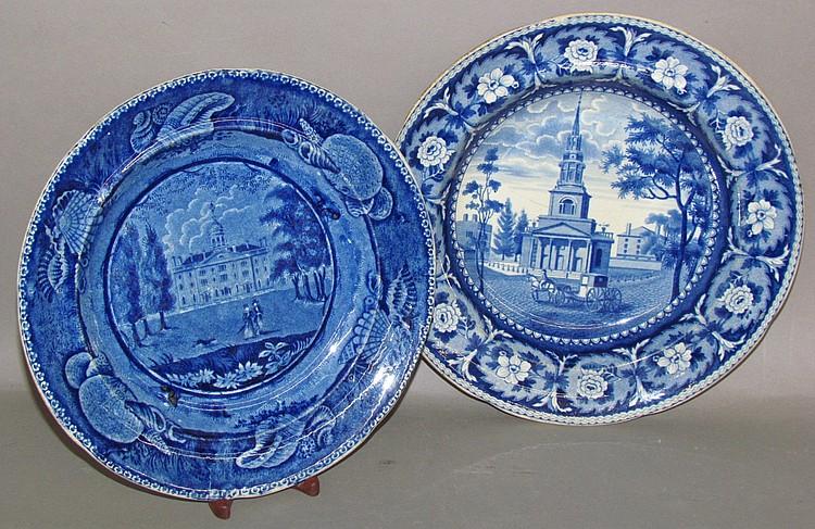 2 Historic Blue American scene dishes