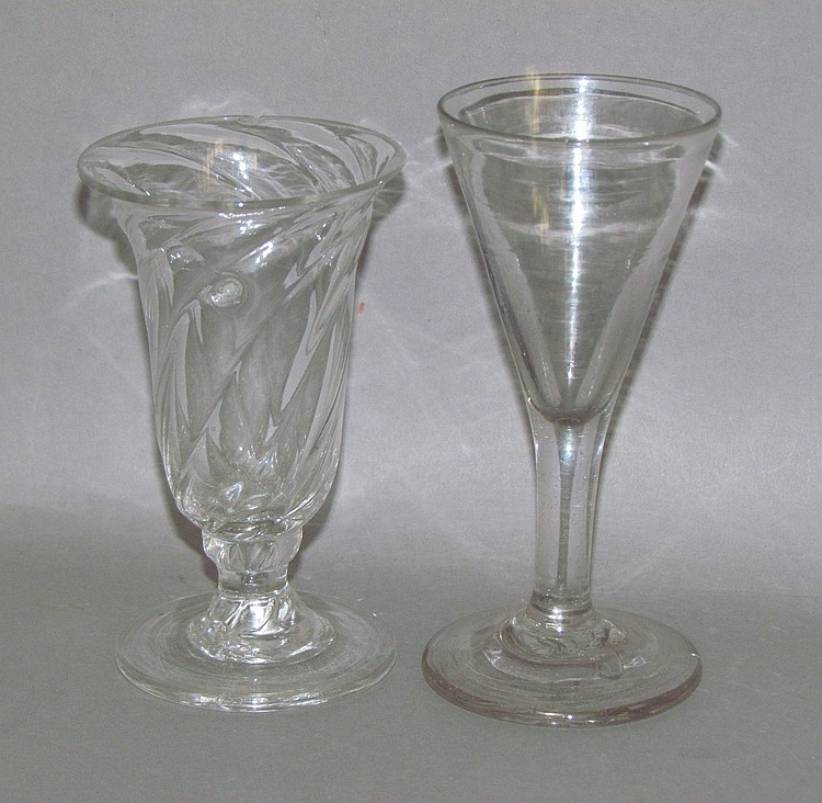 Blown colorless glass wine & pattern-molded sullabub glass