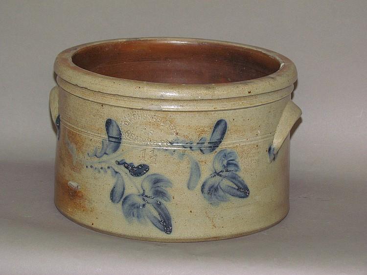 1 1/2 gallon cobalt decorated Shenfelder stoneware butter crock