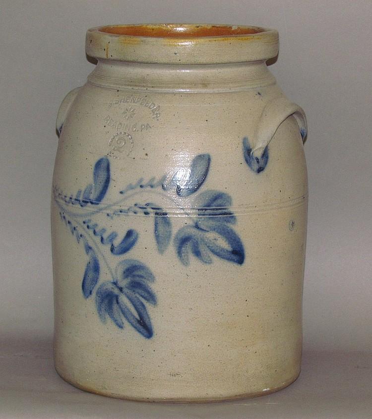 2 gallon cobalt decorated Shenfelder stoneware butter churn