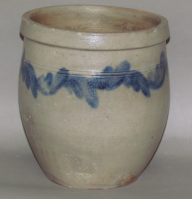Scarce cobalt decorated Wells & Richard stoneware crock