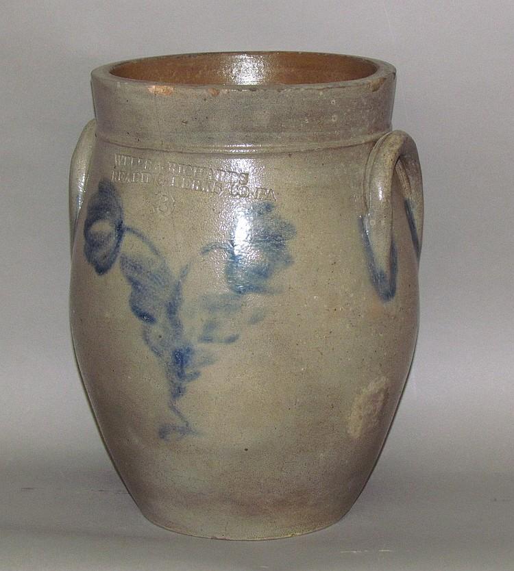 Scarce 3 gallon cobalt decorated Wells & Richards stoneware crock