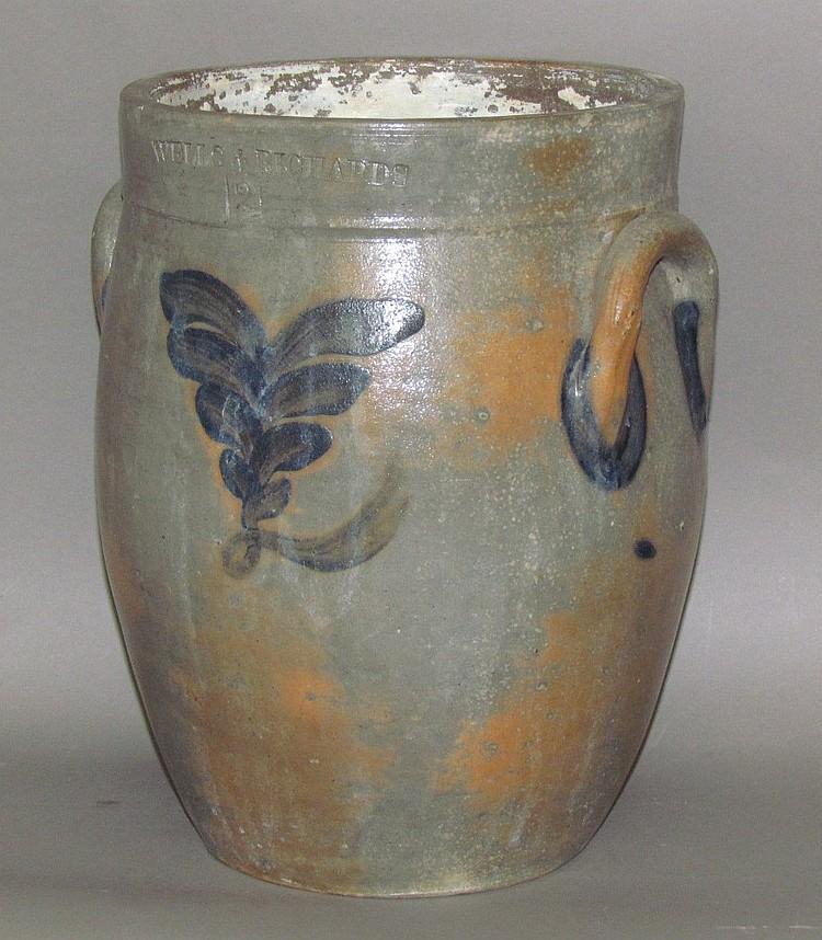 Scarce 2 gallon cobalt decorated Wells & Richards stoneware crock