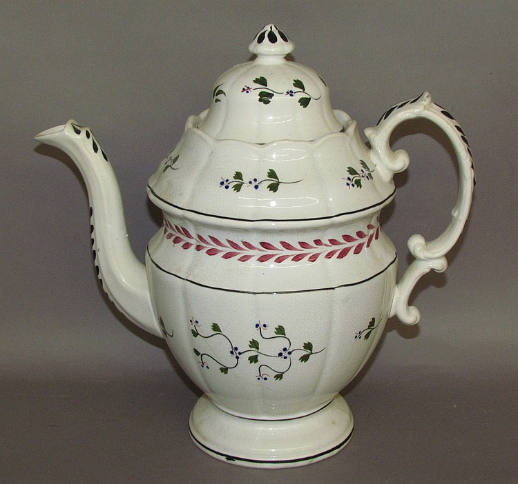 English earthenware sprig decorated covered coffee pot