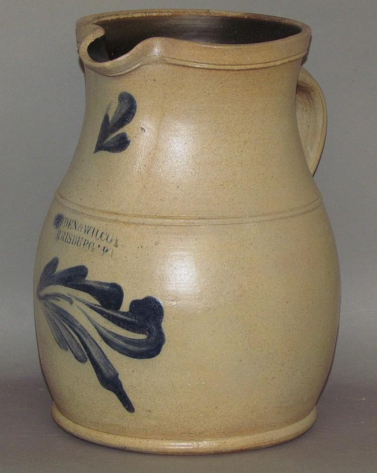 1 gallon cobalt decorated Cowden & Wilcox stoneware pitcher