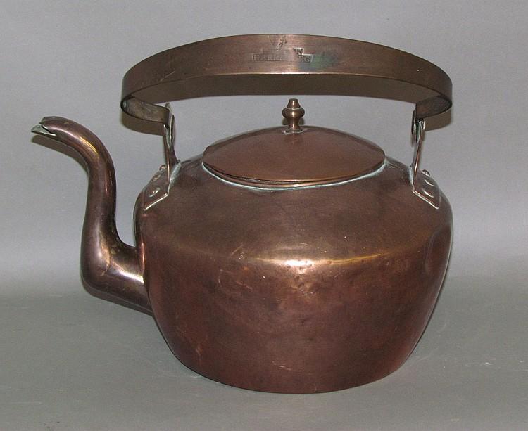 Domed top gooseneck copper tea kettle by F. Clark
