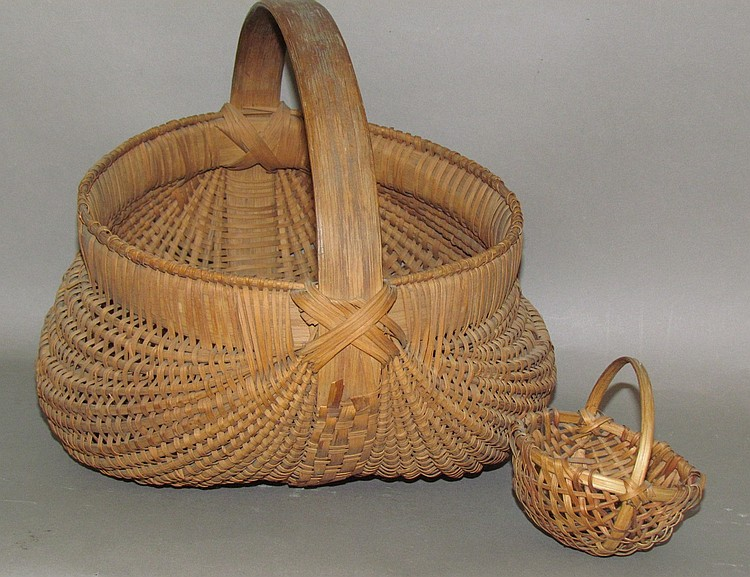 2 ash splint baskets with handles