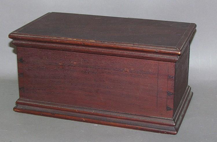 Miniature dovetailed mahogany blanket chest