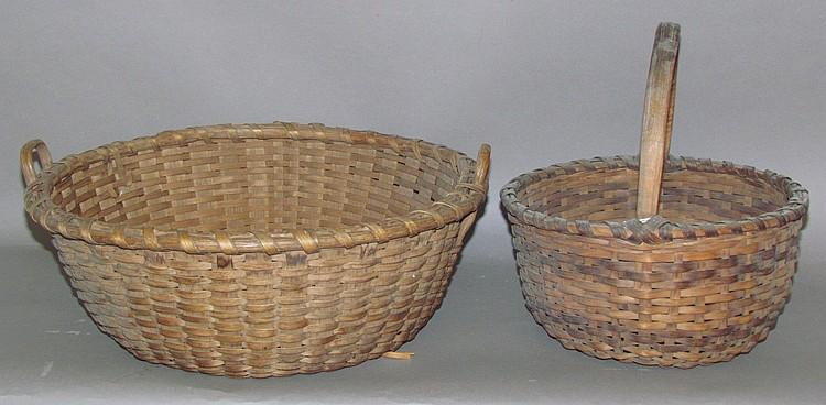 2 unmatched round hardwood splint round baskets