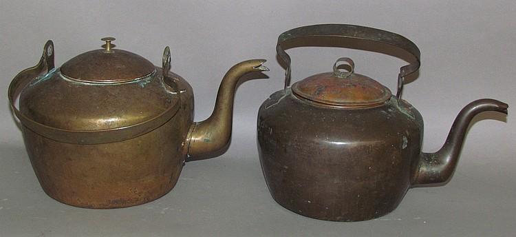 2 unsigned gooseneck coffee tea kettles