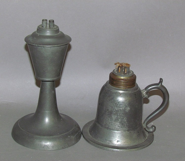 2 American standing pewter whale oil lamps