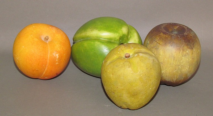 4 pieces large carved stone fruit