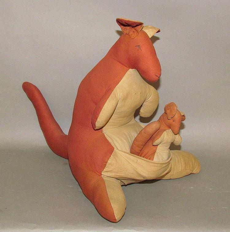 Homemade cloth toy kangaroo & joey
