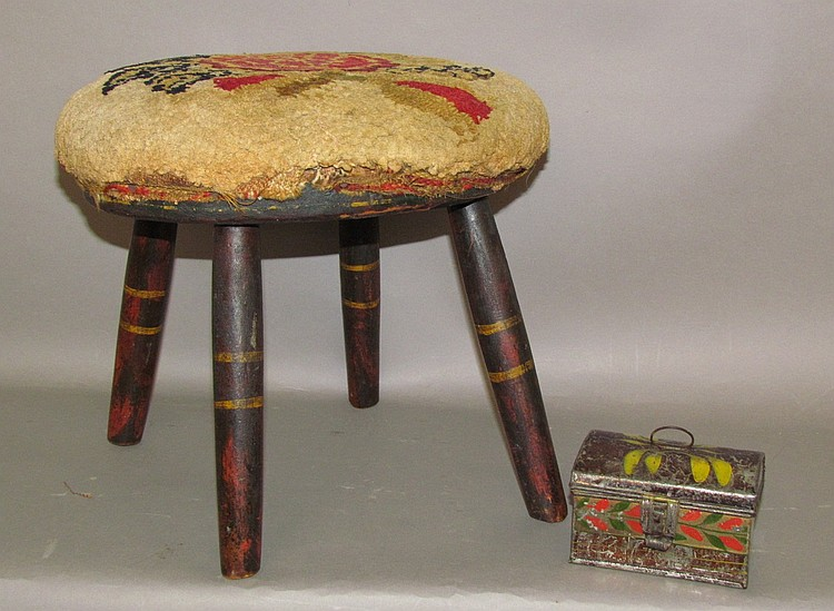 Small toleware box & splayed leg footstool