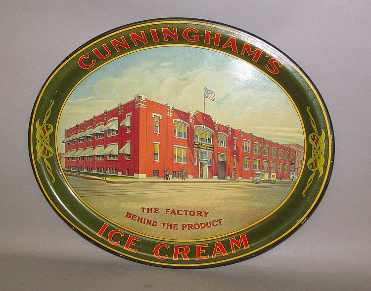 Cunningham's Ice Cream lithograph oval tin tray by American Can Co.