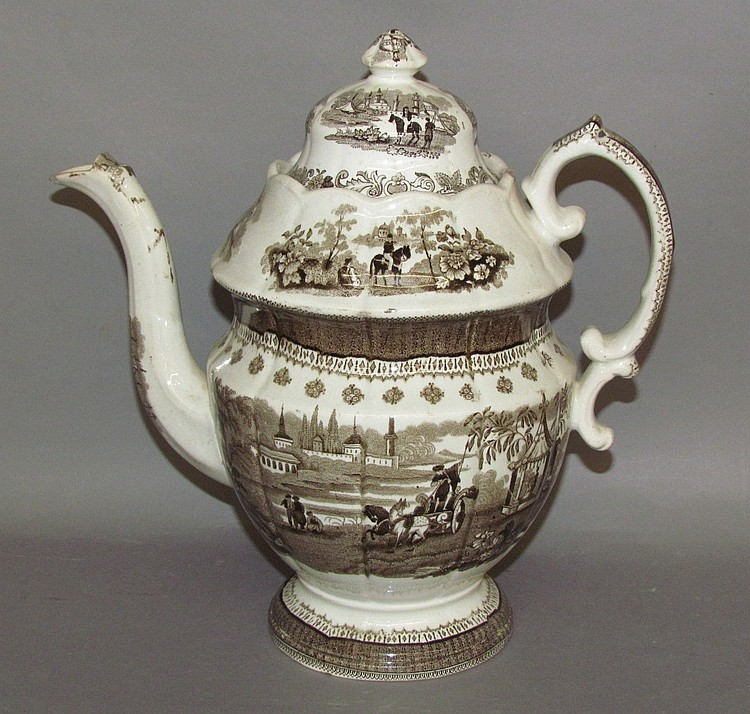 English earthenware brown transfer covered coffee pot