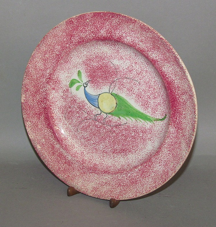 English earthenware overall red spatter peafowl plate