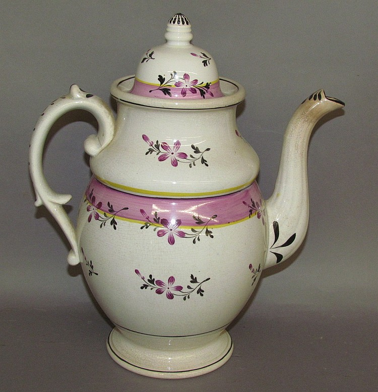 English earthenware floral decorated covered coffee pot