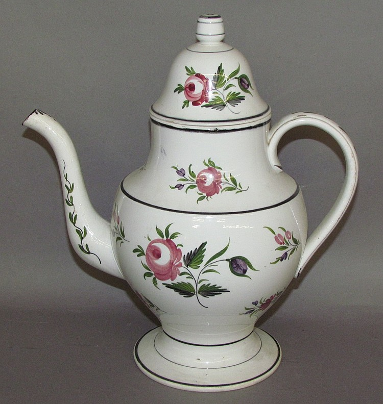 English pearlware rose variant covered coffee pot