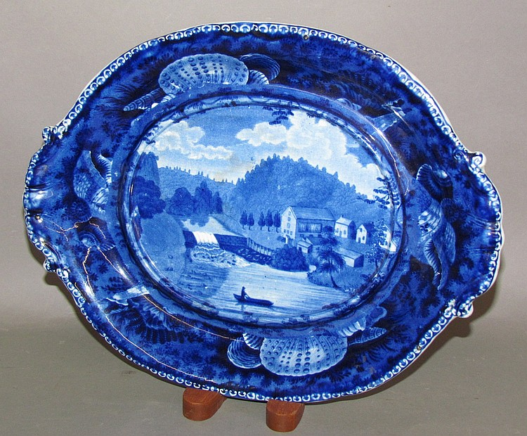 Fine Historic Blue Hope Mill soup tureen under tray