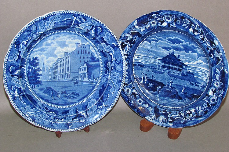 2 Historic Blue American hotel view plates