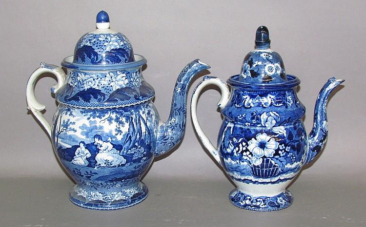 2 English earthenware blue transfer coffee pots