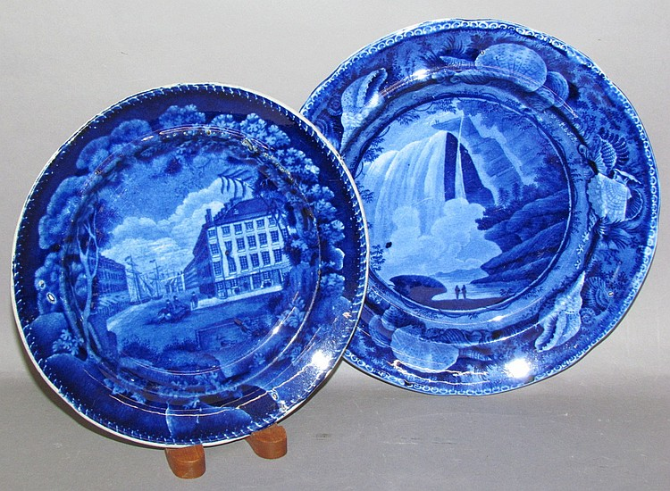2 Historic Blue American view plates