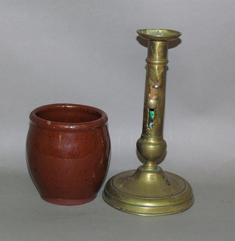 PA redware apple butter crock & brass candlestick