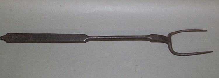 Tool decorated & signed G. Mayer wrought iron butcher fork