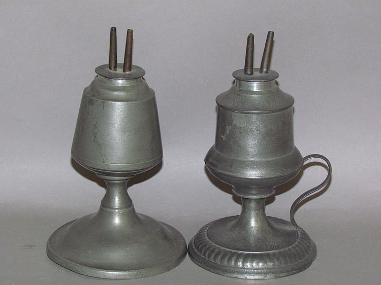 2 American standing pewter spirit lamps