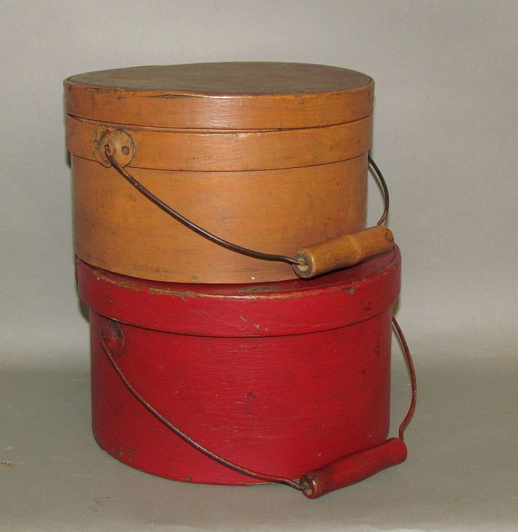 2 painted round band boxes